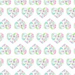 Seamless pattern of floral watercolor hearts — Stock Photo #76011323