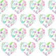 Seamless pattern of floral watercolor hearts — Stock Photo #76011125