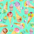 Ice cream and confection pattern on a turquoise background — Stock Photo #78597238