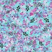 Seamless pattern of watercolor blue leaves, purple flowers and berries — Stock Photo