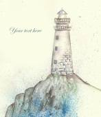 Illustration of a lighthouse on the shore, pour over the sea spray — Stock Photo