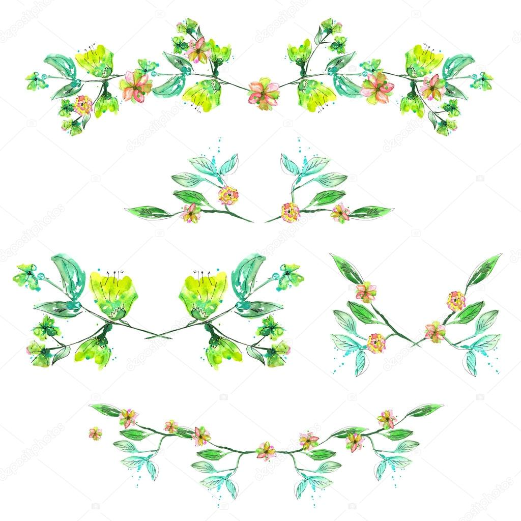 Set with frame borders floral decorative ornaments with for Decoraciones para hojas
