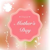 Happy Mothers Day Card with hand-drawn elements on pink blurred background — Stock Vector