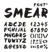 Smear hand painted font — Stock Vector