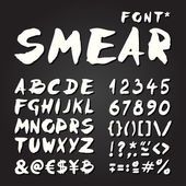 Smear hand painted font on chalkboard — Stock Vector