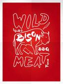 Wild bison meat — Stock Vector