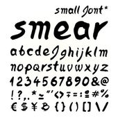 Small letters Smear hand painted font — Stock Vector