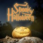 Spooky Halloween warm neon pumpkin in on a rock in the darkness — Stock Photo #73413755