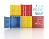 Your name colour stacked shipping containers — Stock Photo