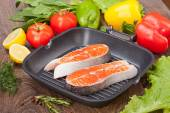 Salmon fillet with the vegetables — Stock Photo