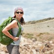 Adult brunette woman hiking and backpacking — Stock Photo #70791773