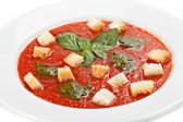 Close up of tomato soup with croutons — Stock Photo