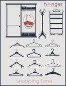 Hanger  shopping time — Stock Vector