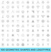 Set of 100 geometric hipster shapes12 — Stock Vector