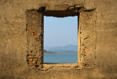 Opened brick window — Stock Photo