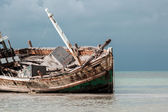 Close up abandoned wrecked ship — Stock Photo