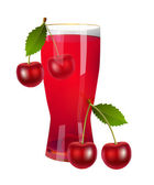 A glass of cherry juice — Stock Vector