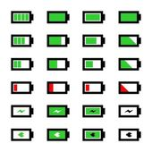 Vector battery icon set for applications, web-sites and more — Stock Vector