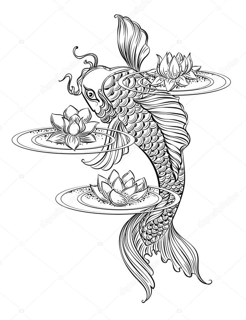 Tatouage de carpe koi 2 image vectorielle yulianas for Carpe chinoise prix