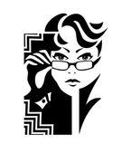 Gözlüklü kadın — Stok Vektör
