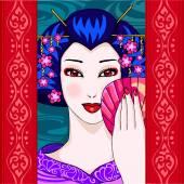 Japanse vrouw — Stockvector