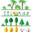 Flat trees and flowers set — Stock Vector #76897649