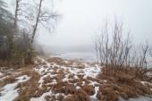 At the frozen foggy lake. — Stock Photo