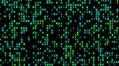 Data Stream Binary Glowing in Green Blue Loop — Stock Video