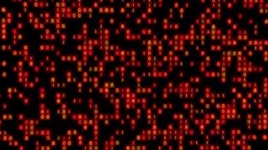 Data Stream Binary Glowing Zoom In Orange Red — Stock Video