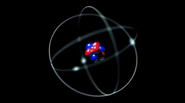Atom single nucleus proton neutron electron loop — Stock Video
