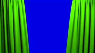 Green Curtains opening and closing stage theater cinema blue screen — Stock Video