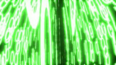 Binary data glowing closeup perspective green — Stock Video