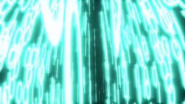 Binary data glowing closeup perspective blue — Stock Video