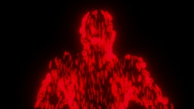 Binary man with orb glowing data 0 1 red — Stock Video