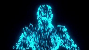 Binary man with orb glowing data 0 1 blue — Stock Video