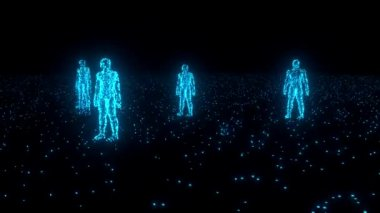 Binary people computer team glowing data 0 1 blue — Stock Video