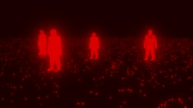 Binary people computer team glowing data 0 1 red — Stock Video