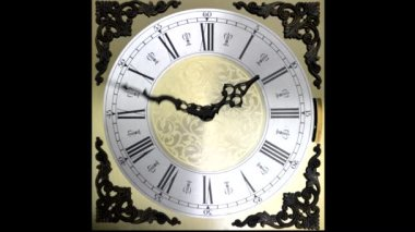 Clock face running forward at speed ornate grandfather timelapse time travel — Stock Video