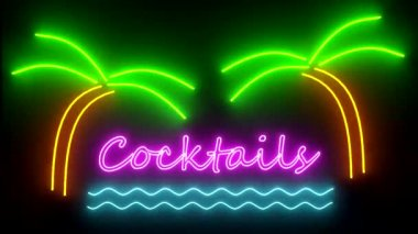 Cocktails neon sign lights logo text glowing multicolor cocktail — Стоковое видео