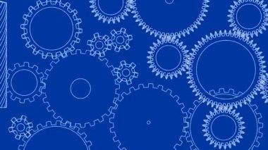 Gear cogs rotating system gearbox blueprint mechanism — Stock Video