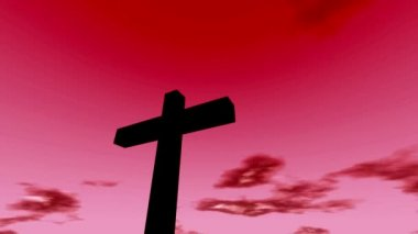 Cross crucifix with time lapse clouds red sky and sun christian rapture — Stock Video