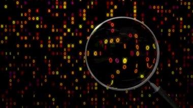 Data under magnifying glass binary spying spyglass — Video Stock