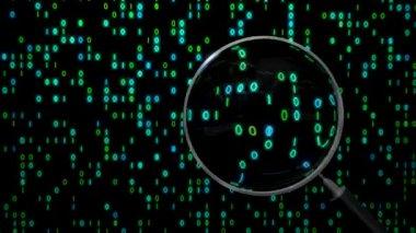Data under magnifying glass binary spying spyglass — Stock Video