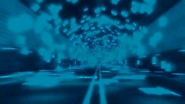 Data Binary Tunnel Blue Turquoise Seamless Loop — Stock Video