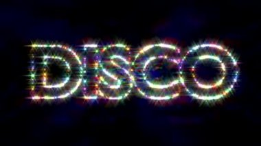 Disco logo text sparkling glitter multicolor — Stock Video
