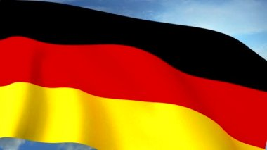 German Flag Closeup Waving Against Blue Sky Seamless Loop CG — Stock Video