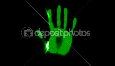 Hand scanner handprint fingerprint palm password id green — Stock Video