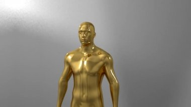 Trophy award ceremony intro with space for title text nomination gold man male — Stock Video