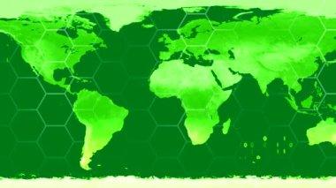 World map high tech digital satellite data view war room loop green CRT — Stock Video