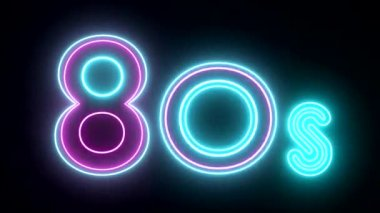 80s neon sign lights logo text glowing multicolor — Stock Video
